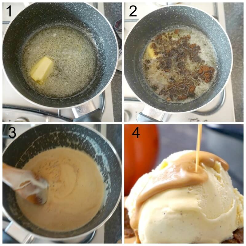 Collage of 4 photos to show how to make butterscotch sauce