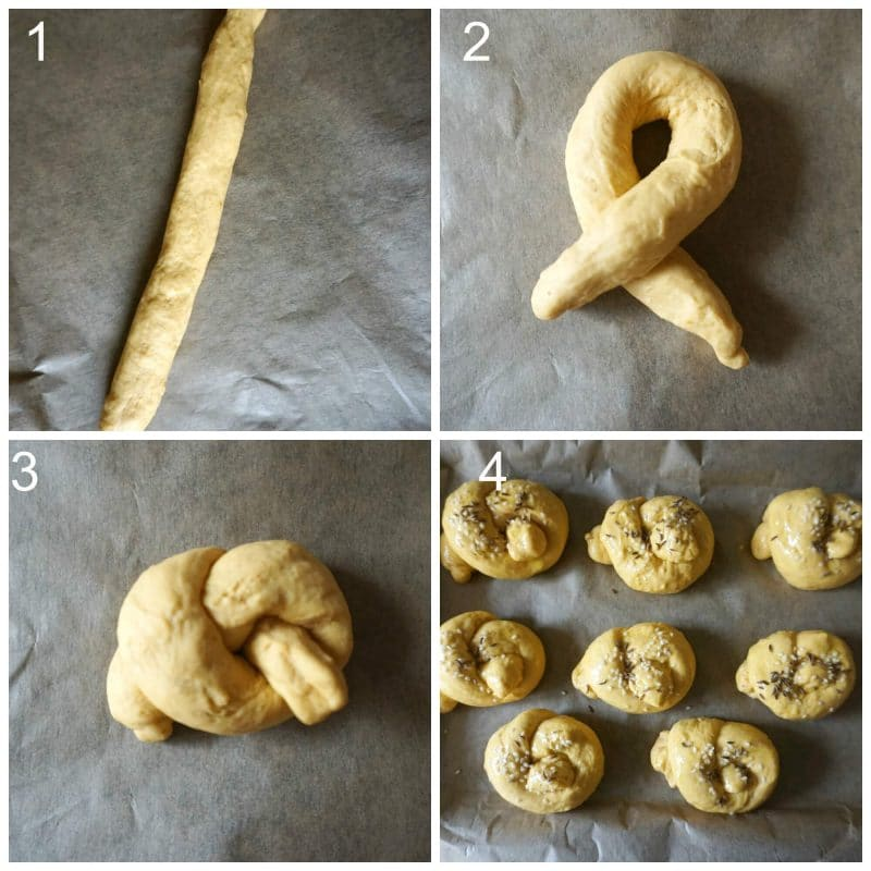 Collage of 4 photos to show how to knot the dough for pumpkin dinner rolls