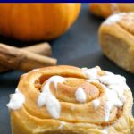 The Best Pumpkin Pie Cinnamon Rolls with cream cheese frosting, a fabulous Thanksgiving dessert that is super easy to make. These homemade pumpkin cinnamon rolls are made from scratch, and they are so fluffy, and delicious. It's the best comfort food recipe during Fall season. Spiced pumpkin dough, yummy pumpkin pie filling, what a treat!