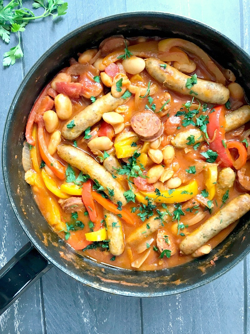 A pan with a simple sausage and beans casserole