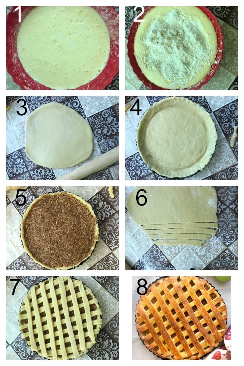 Collage of 8 photos to show how to make apple pie from scratch