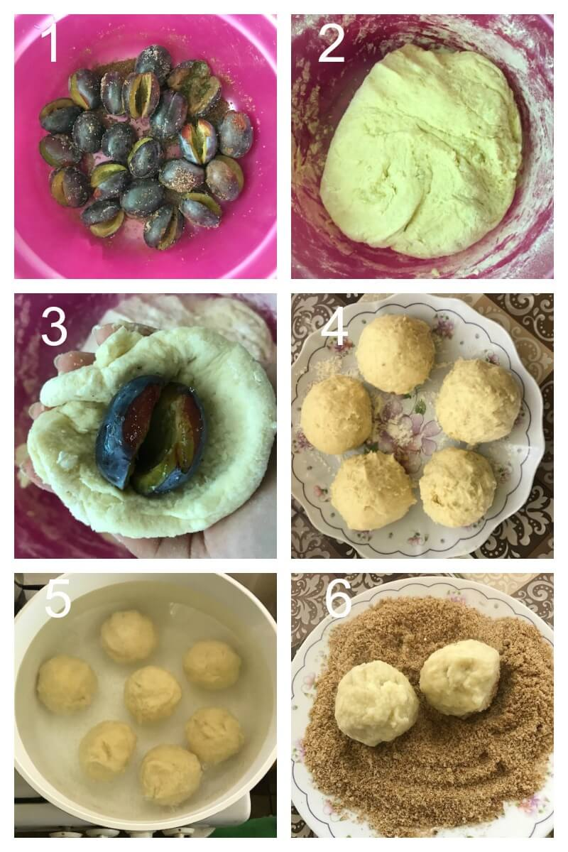 Collage of 6 photos to show how to make plum dumplings