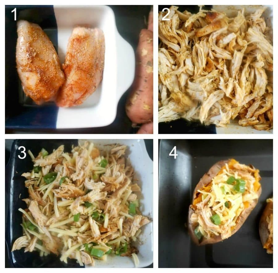 Collage of 4 photos to show how to make stuffed sweet potatoes with chicken and cheese