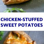 Baked Chicken-Stuffed Sweet Potatoes with mozzarella and spring onions, a healthy Fall appetizer that can be enjoyed all year round. Super simple to make, these stuffed sweet potatoes can also be served as a meal on their own. Top them with a dollop of sour cream or Greek yogurt, and you get one delicious dish.