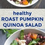 Roast Pumpkin Quinoa Salad with Feta, beetroot, mixed green leaves, and toasted sunflower and pumpkin seeds drizzled with a light balsamic vinegar and honey dressing, a healthy and nutritious salad that makes a fantastic side dish or even a meal on its own. A great packed lunch option or a light dinner.