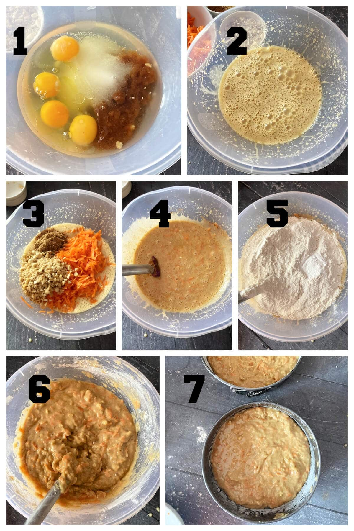 Collage of 7 photos to show how to make carrot cake