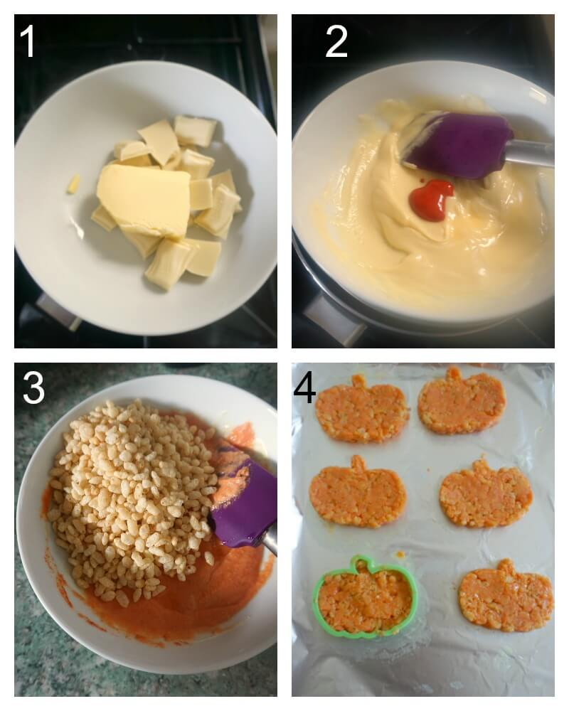 Collag eof 4 photos to show how to make pumpkin rice krispie treats