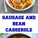 Sausage and Butter Bean Casserole, a hearty dish for an epic family dinner. Made with chipolatas sausages, chorizo, butter beans, and peppers, simmered in a rich tomato sauce, this simple sausage casserole is a big hit every single time. That's what I call comfort food!