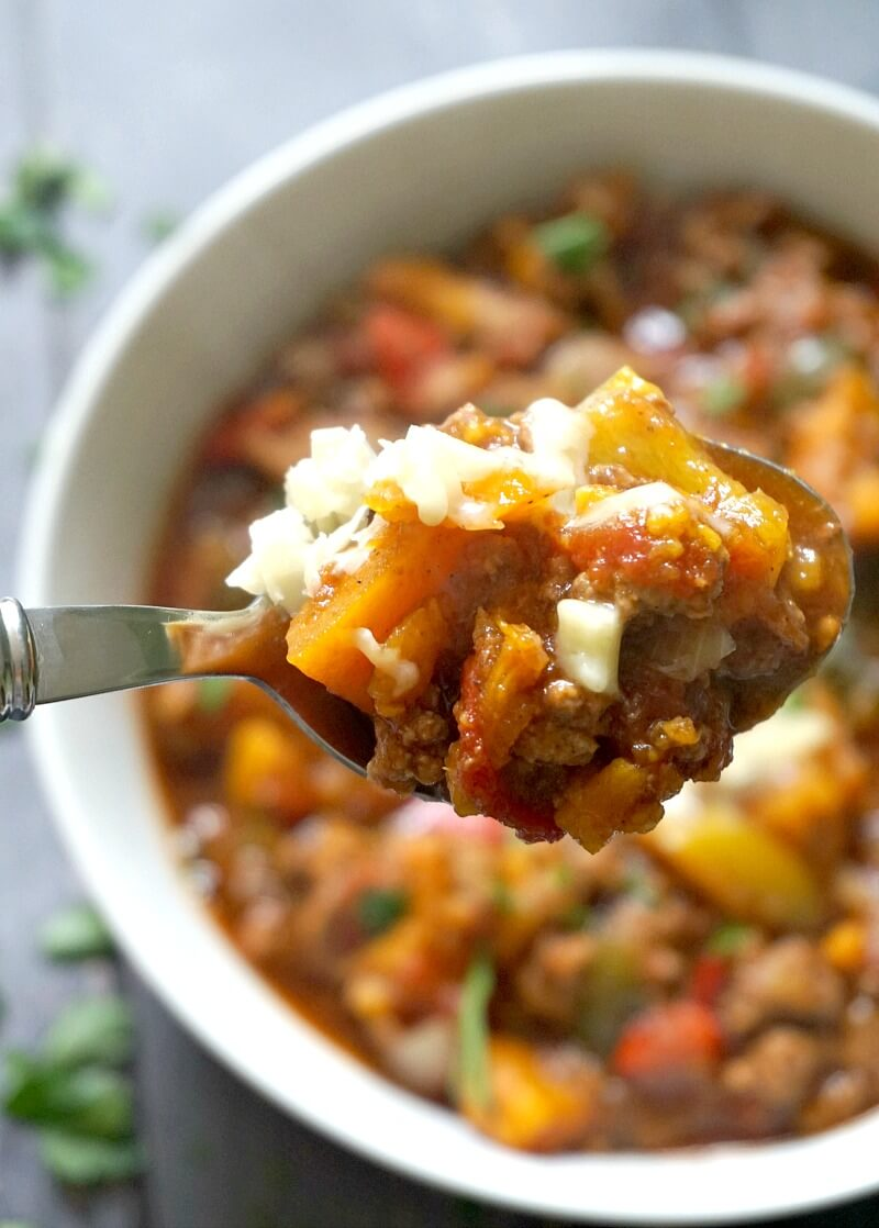 A spoonful of beef and sweet potato chili