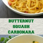 Butternut Squash Pasta Carbonara with Pancetta and lots of parmesan cheese, a little twist on the classic Italian dish. It's comforting and delicious, just perfect this Fall.A great family dinner that can be enjoyed all year around too.