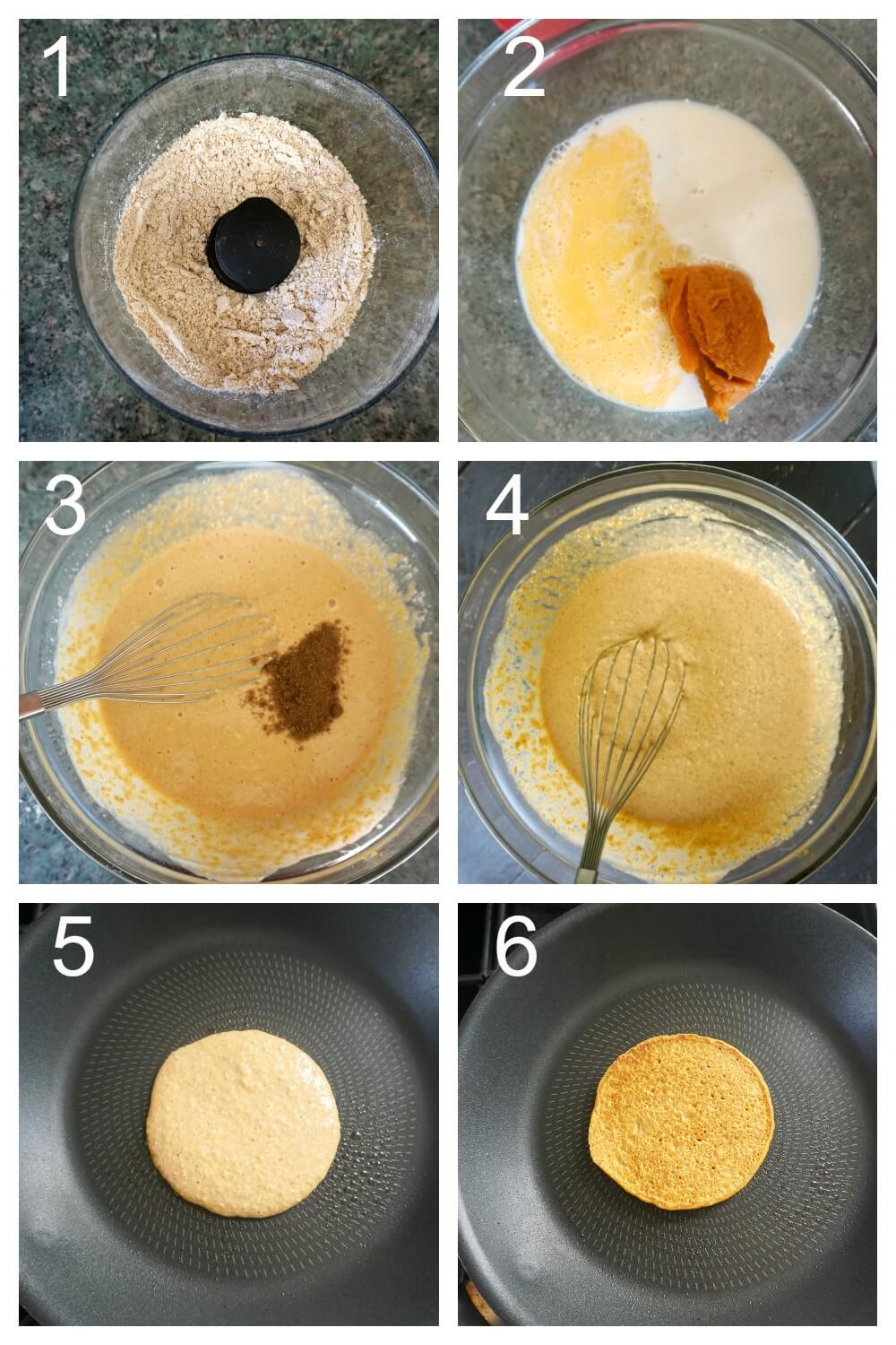 Collage of 6 photos to show how to make oatmeal pumpkin pancakes