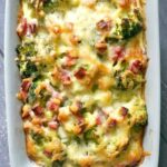 Overhead shoot of a dish with ham and cheese casserole