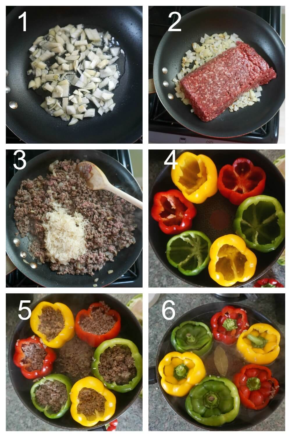 Collage of 6 photos to show how to make stuffed peppers