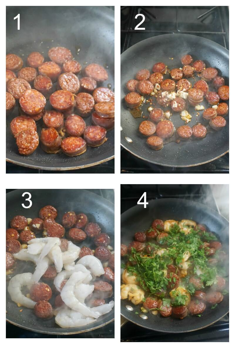 Collage of 4 photos to show how to cook the prawns and chorizo for a pasta dish