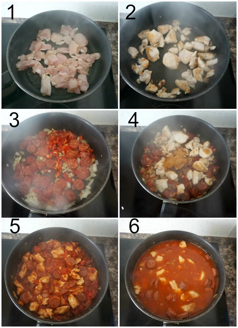 Collage of 6 photos to show how to make chicken and chorizo jambalaya