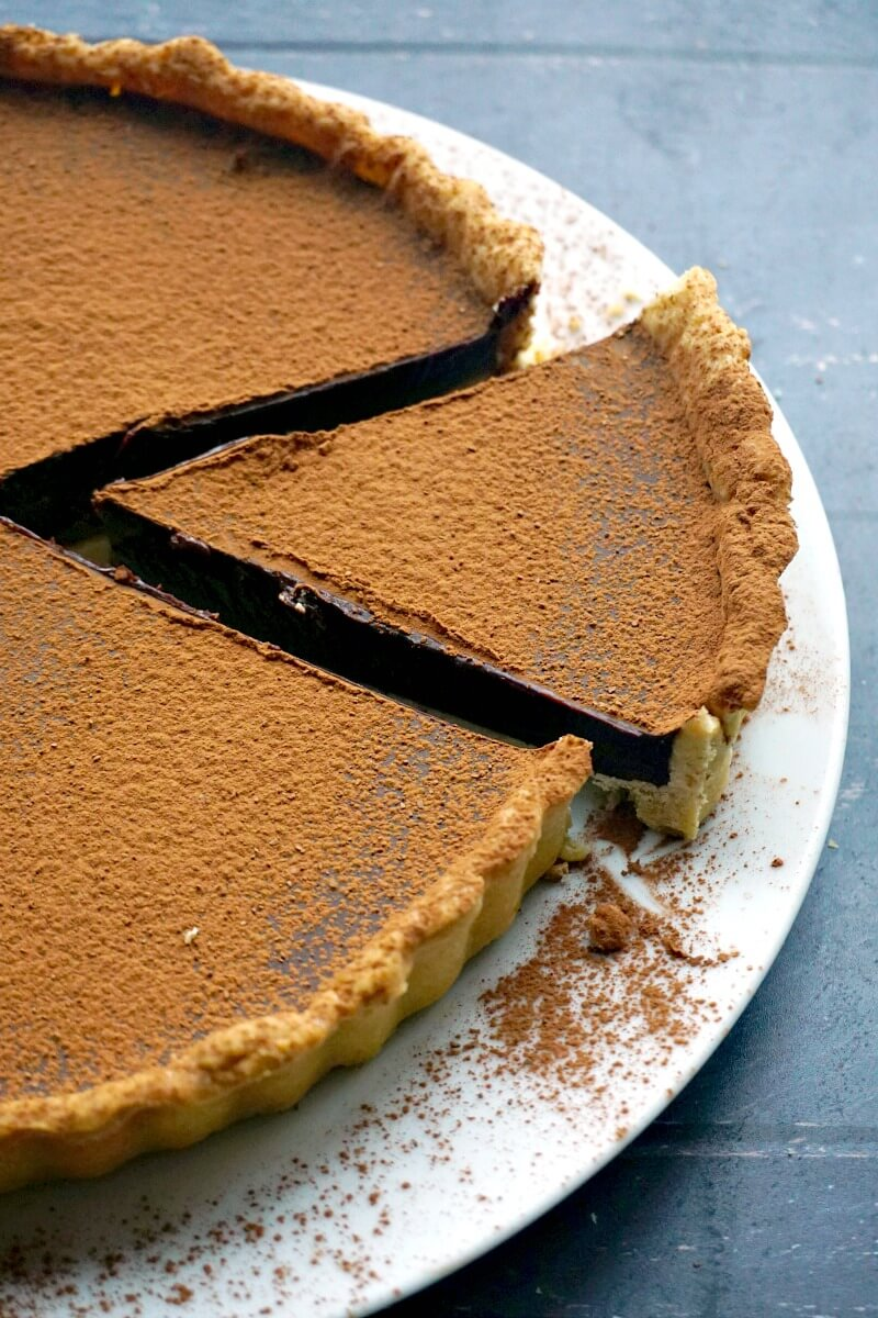 Close-up shoot of a white plate with chocolate tart and a slice cut up of it