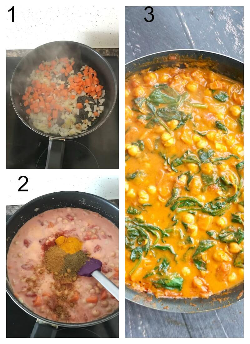 Collage of 3 photos to show how to make coconut chickpea curry