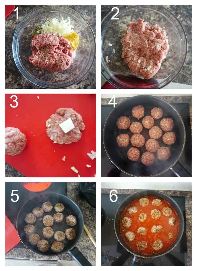 Collage of 6 photos to show how to make mozzarella-stuffed pork meatballs