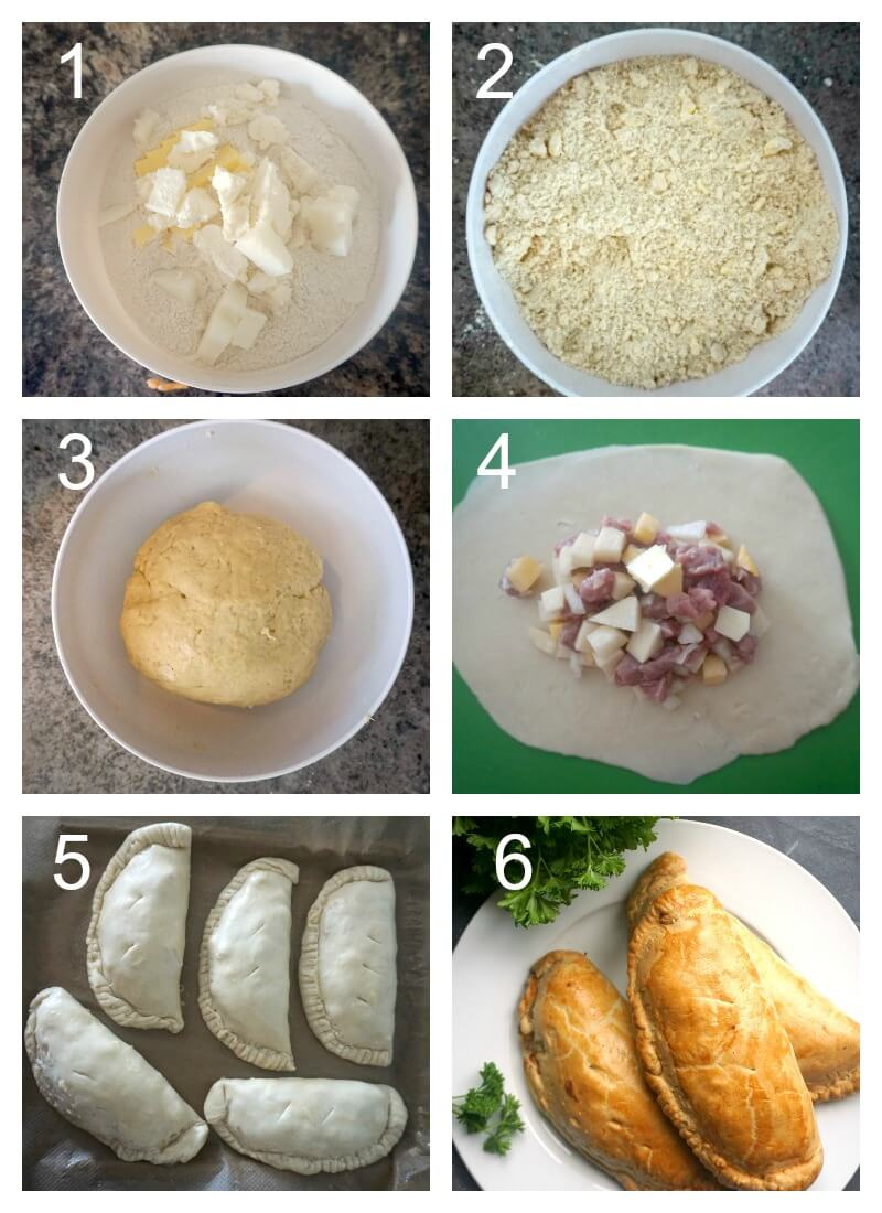 Collage of 6 photos to show how to make traditional Cornish Pasties