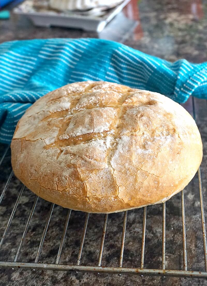 This crusty bread recipe is one of the easiest homemade bread recipes you can make with 4 basic ingredients: bread flour, water, yeast and salt, and nothing else. A rustic loaf with a golden crust, but white and fluffy on the inside, this bread fills the kitchen with a fantastic aroma that reminds me of childhood. My country white bread is the simplest bread recipe you can made. #crustybread, #bread, #whitebread, #countryloaf