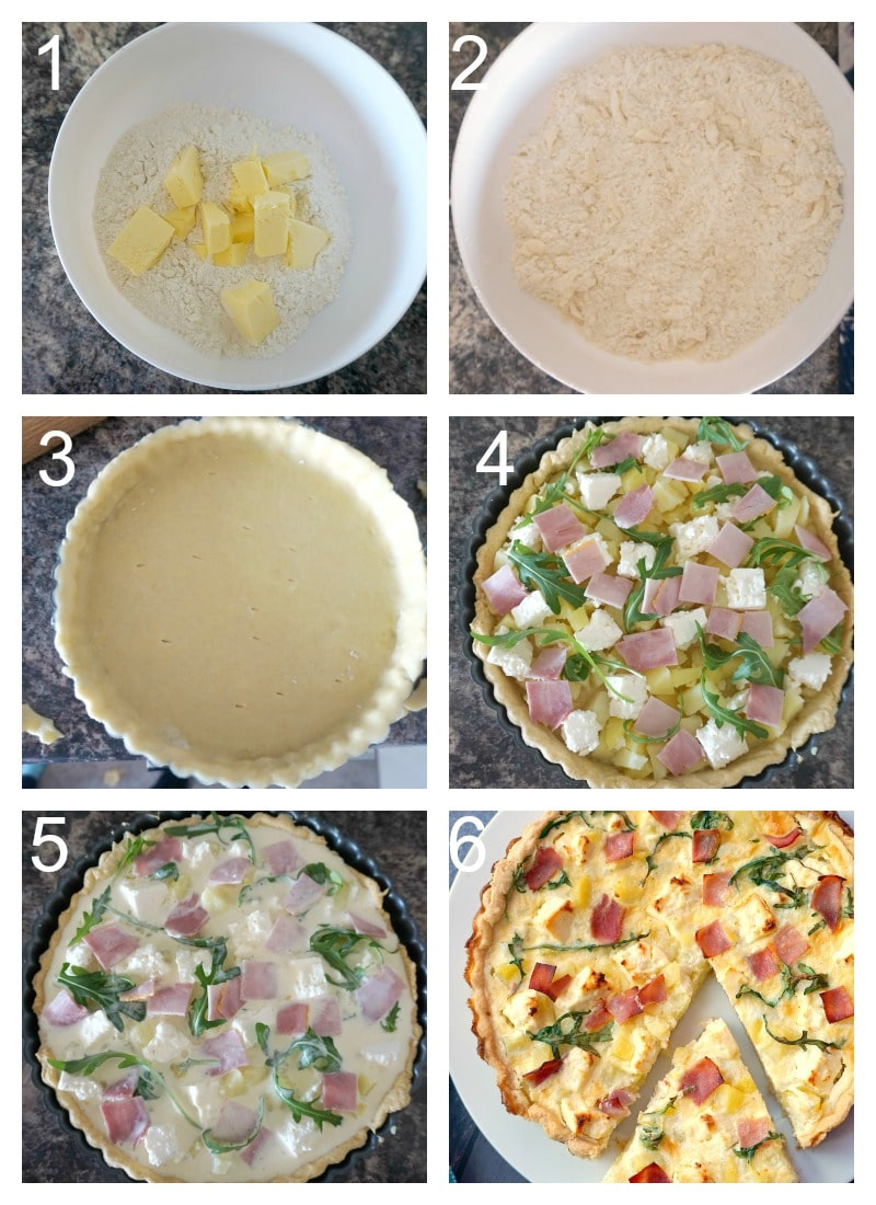 Collage of 6 photos to show how to make potato and ham quiche