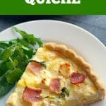 Ham, Cheese and Potato Quiche with a homemade buttery crust, and delicious hearty filling, a fantastic brunch recipe for Spring. The rocket salad/arugula add a nice touch of colour and freshness, making this potato quiche a lovely choice for your Easter menu. Easy to make, a big win with the whole family, this ham and potato quiche is light, and absolutely yummy. It can be served as an appetizer or a meal on its own. #quiche, #potato quiche, #easterrecipes, #springrecipes