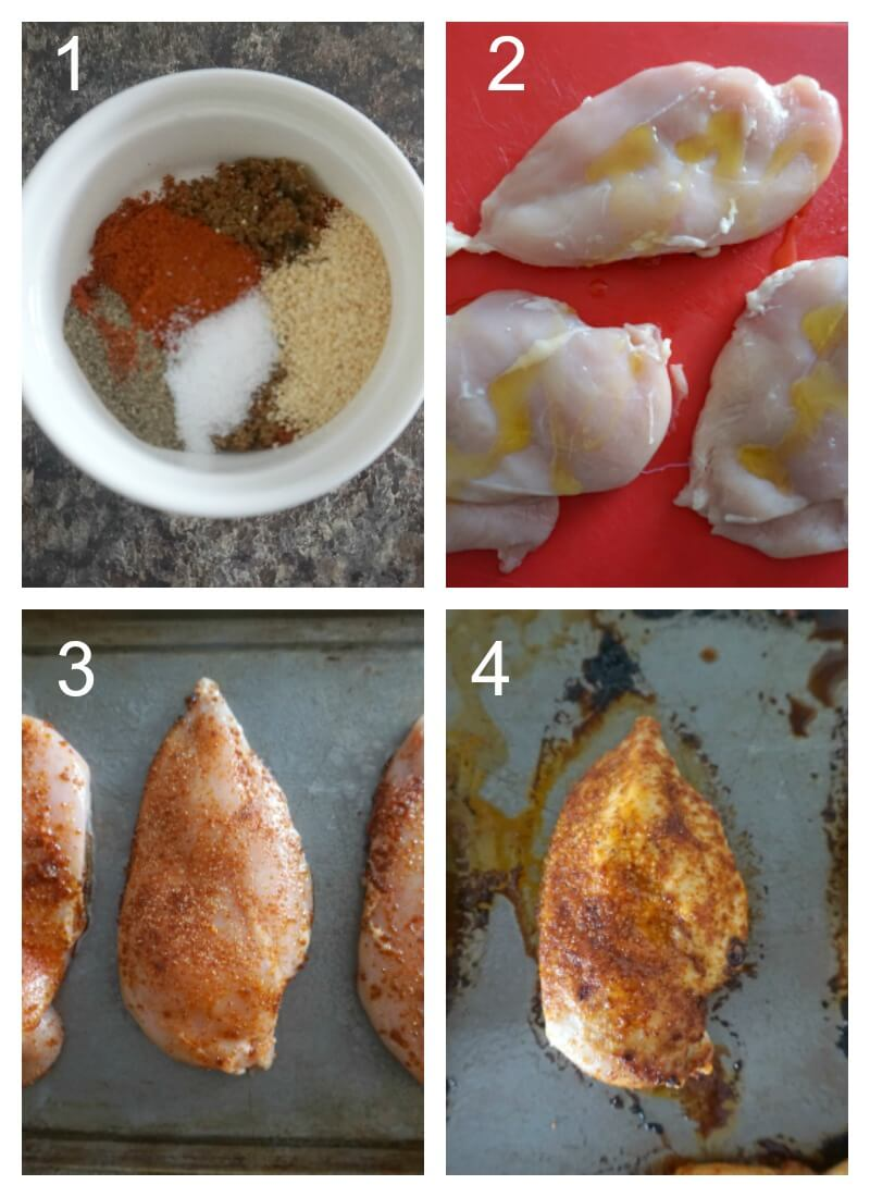 Collage of 4 photos to show how to make baked chicken breast