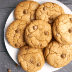 A white plate with chocolate chip cookies