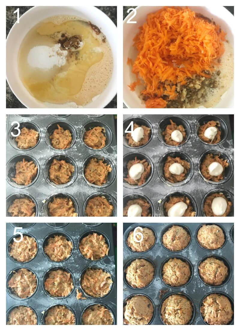 Collage of 6 photos to show how to make carrot cake muffins with cream cheese filling