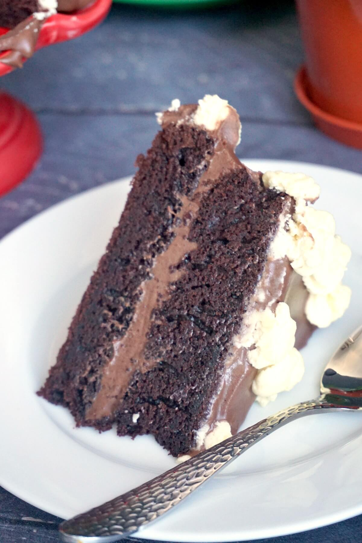 Close-up shoot of a slice of chocolate cake on a white plate