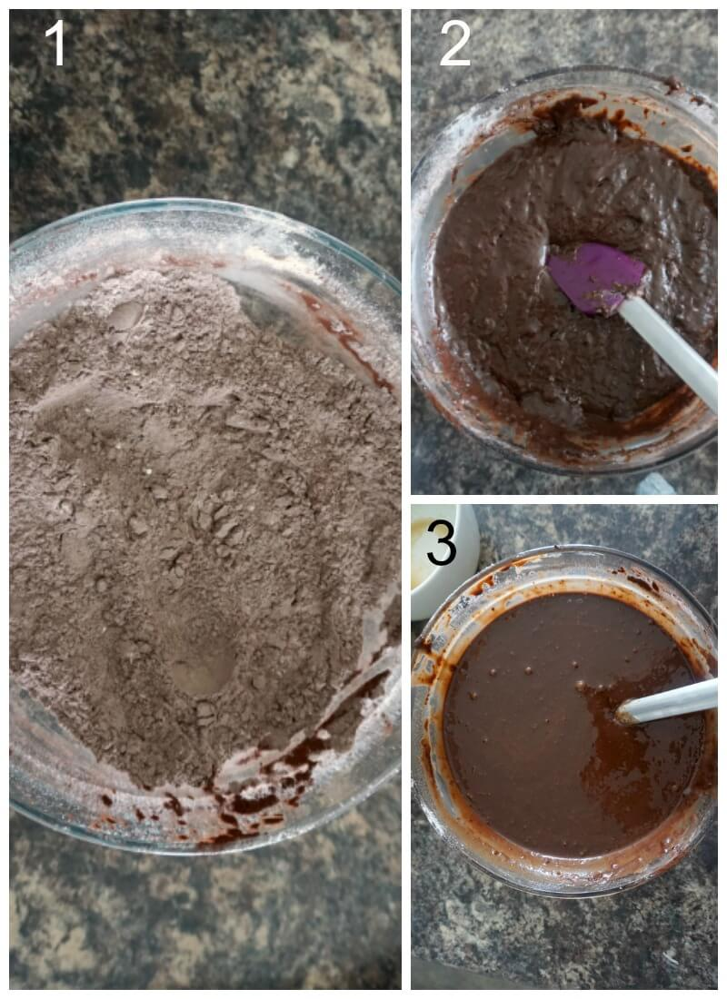 Collage of 3 photos to show how to make coffee chocolate sponge