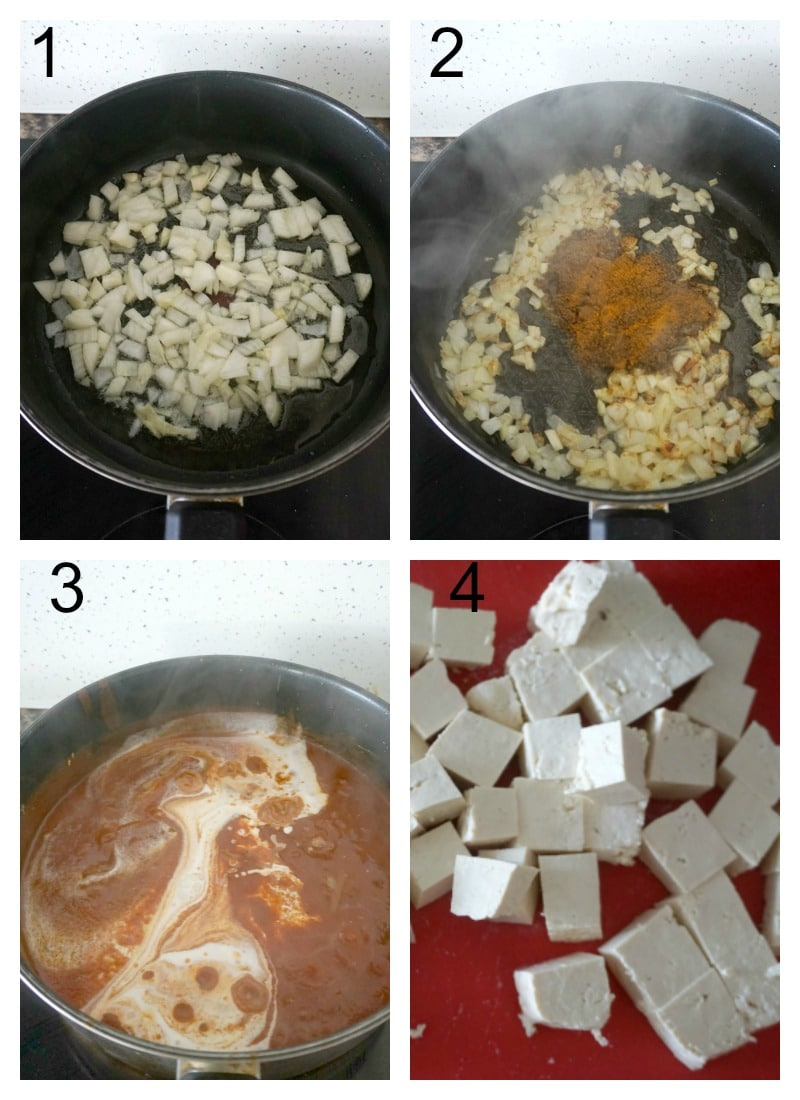 Collage of 4 photos to show how to make tofu curry