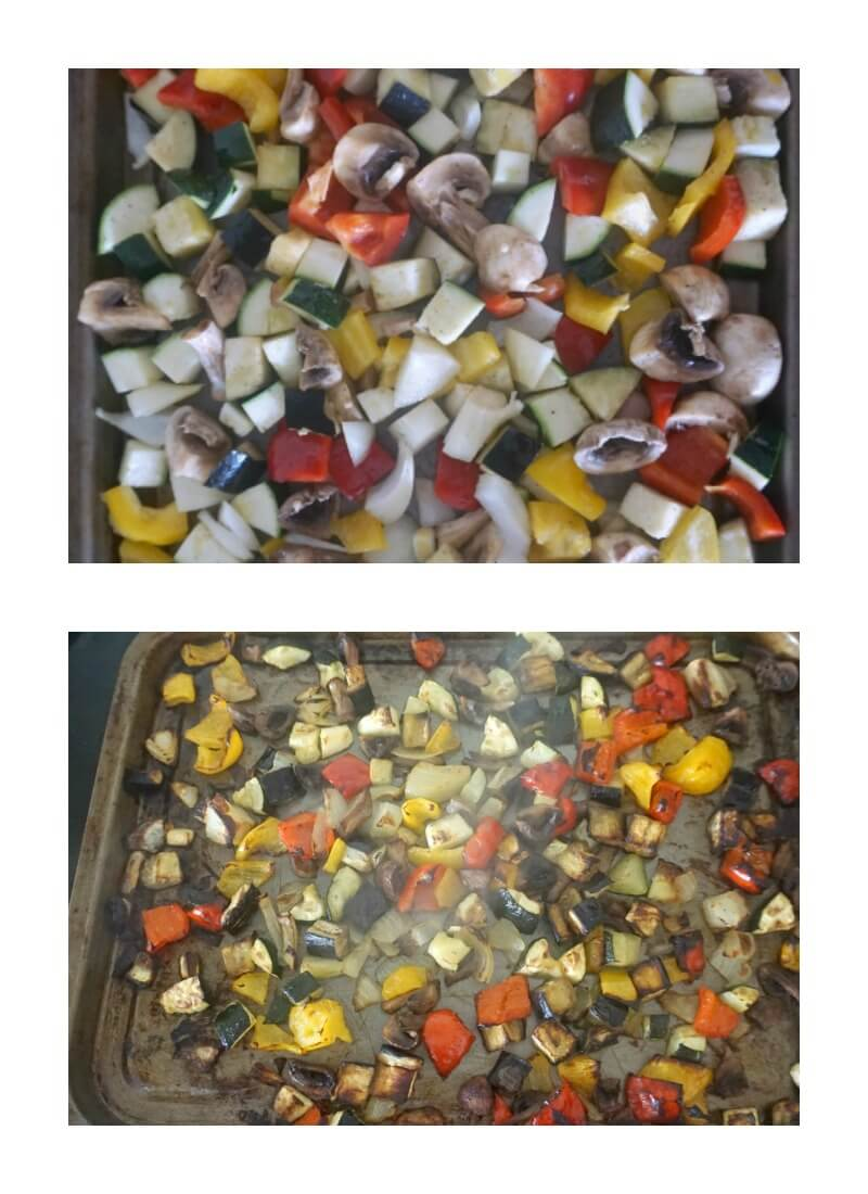 Collage of 2 photos to show how to make pasta salad with roasted vegetables