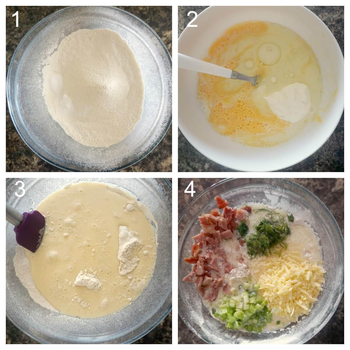Collage of 4 photos to show how to make savoury cheese and bacon muffins