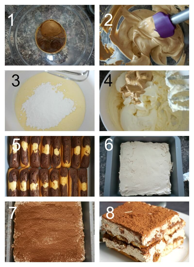Collage of 8 photos to show how to make dalgona tiramisu