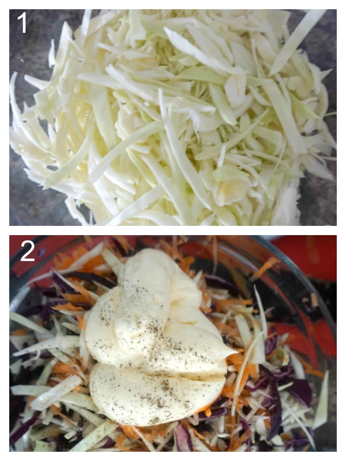 Collage of 2 photos to show how to make dill coleslaw