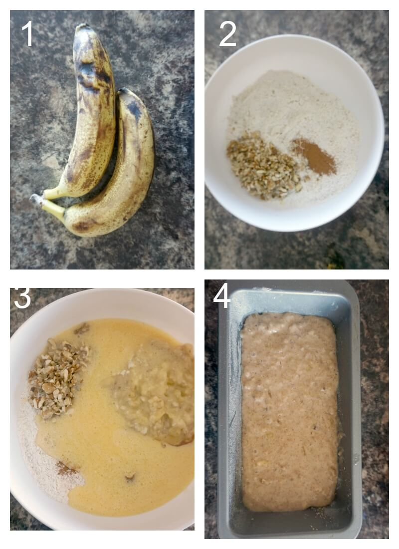 Collage of 4 photos to show how to make walnut banana bread with honey