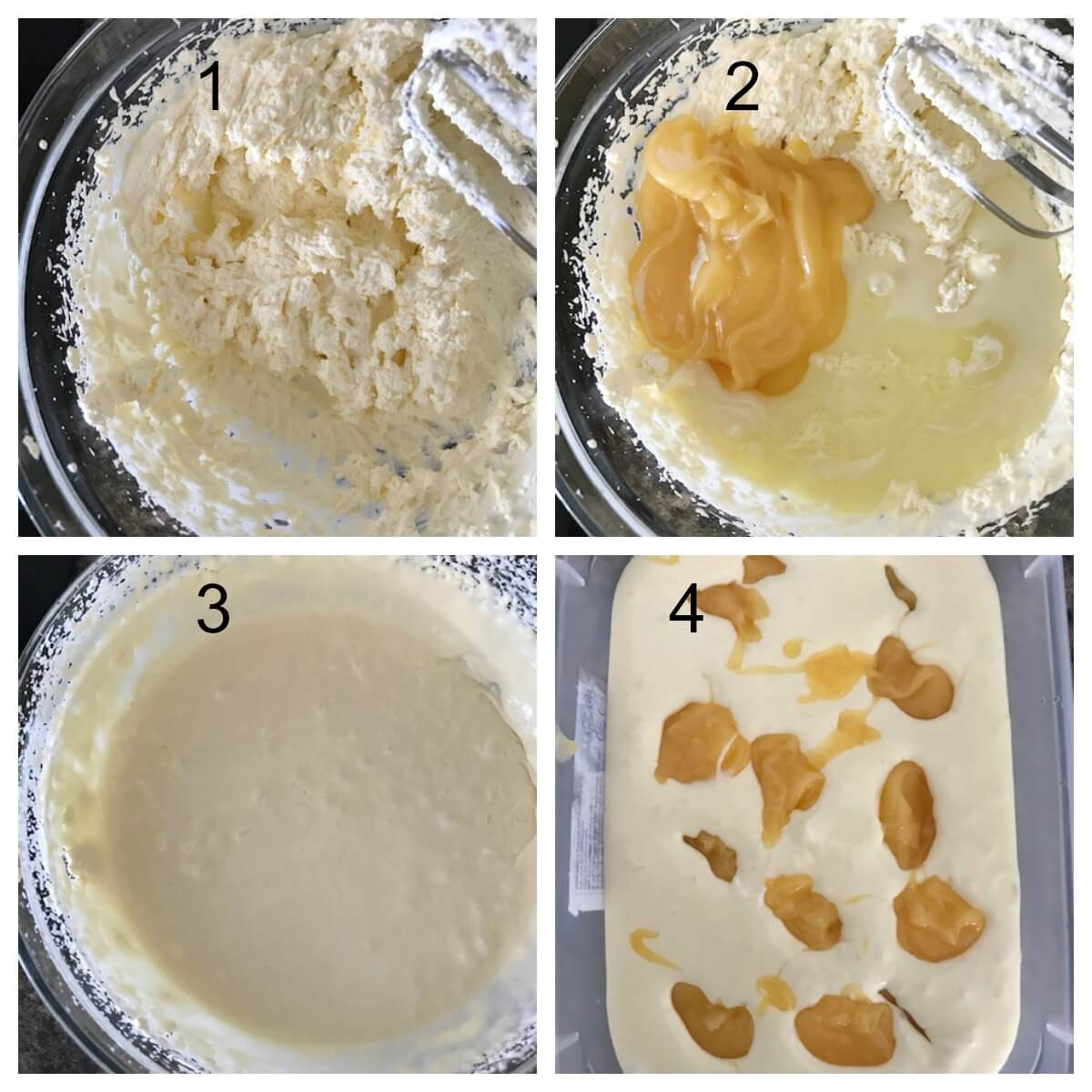 Collage of 4 photos to show how to make lemon curd ice cream with limoncello