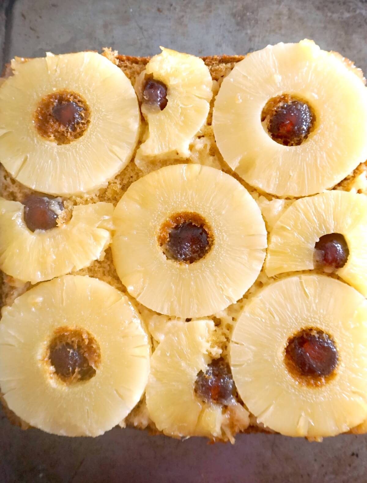 Overhead shoot of a pan with pineapple upside down cake