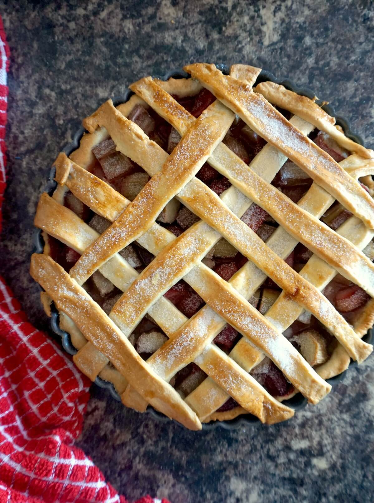 Overhead shoot of a strawberry and rhubarb pie