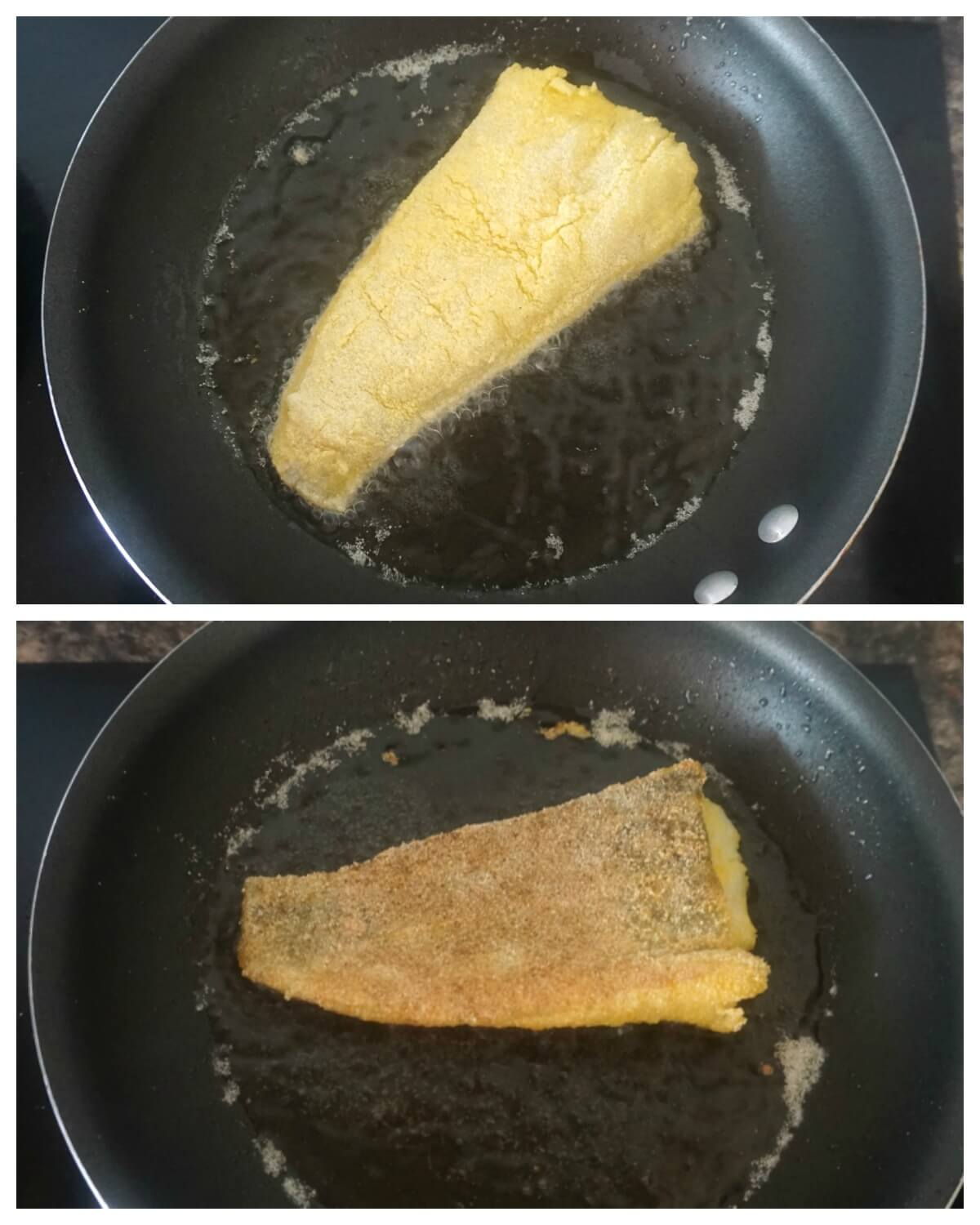Collage of 2 photos to show how to make cornmeal-crusted fried cod fillet