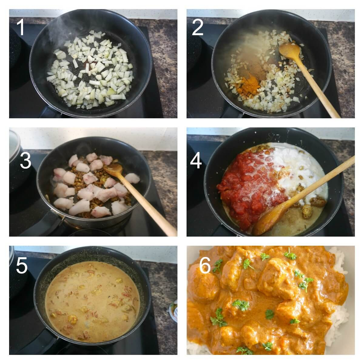 Collage of 6 photos to show how to make fish curry with coconut milk