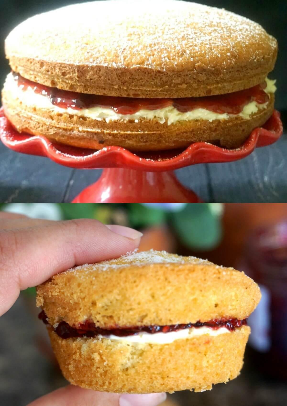 A collage of 2 photos: a classic Victoria Spoge Cake and a Mini Victoria Sponge Cake.
