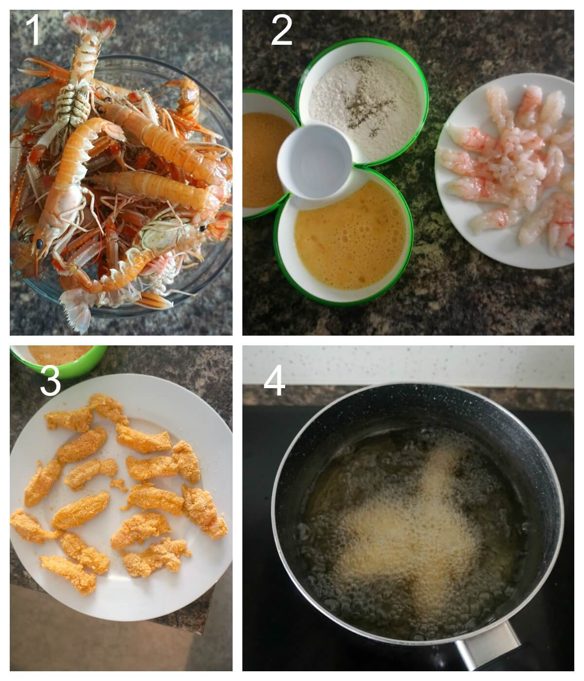 Collage of 4 photos to show how to cook langoustine tails