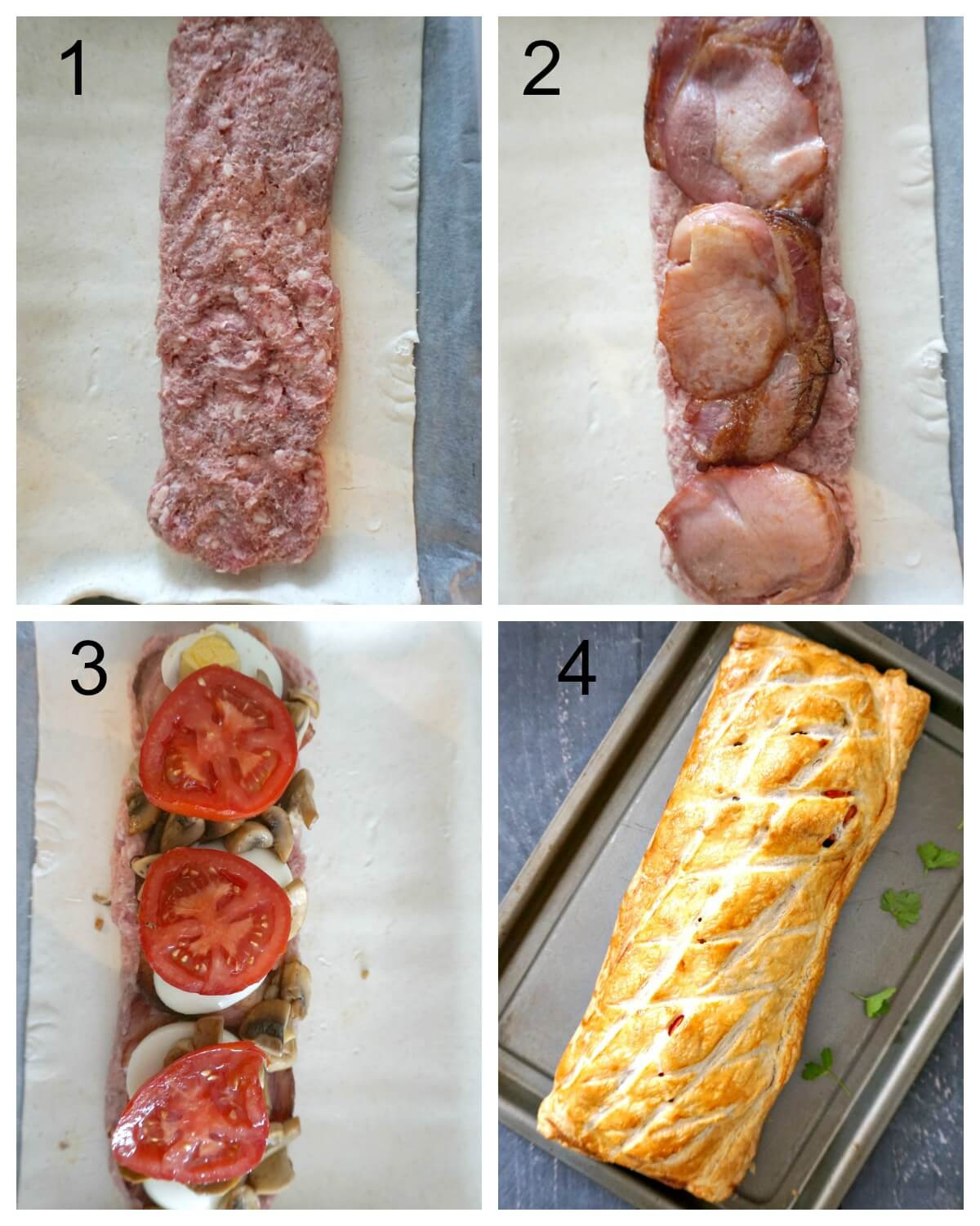 Collage of 4 photos to show how to make breakfast wellington