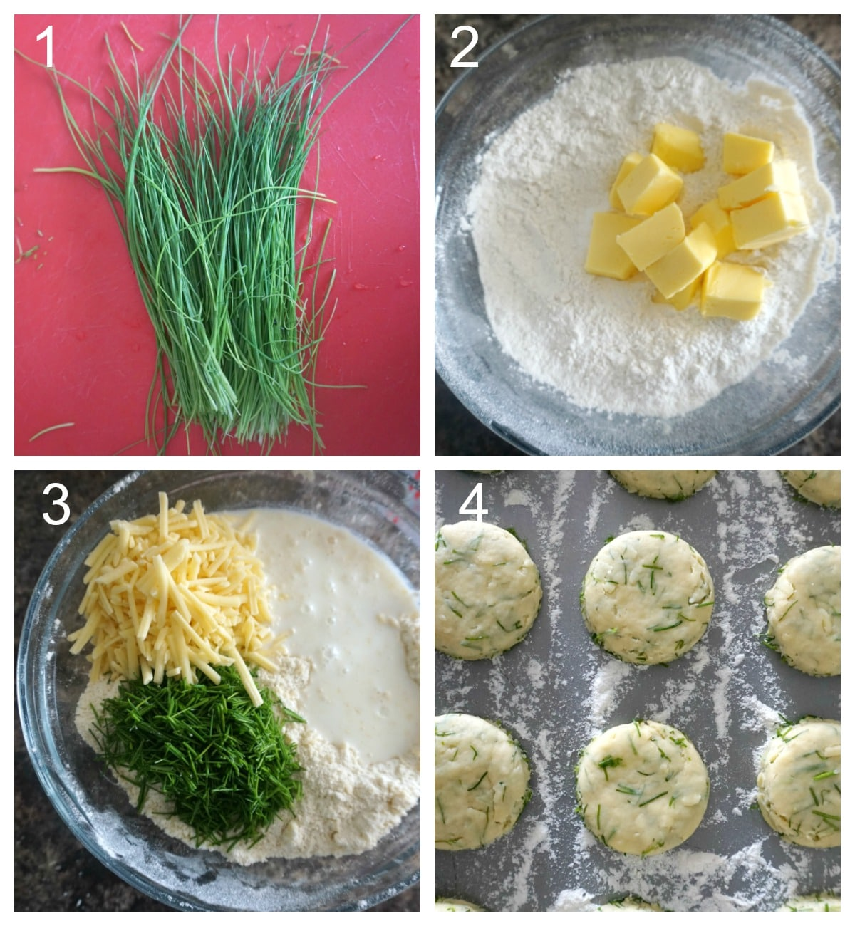 Collage of 4 photos to show how to make cheese and chive scones