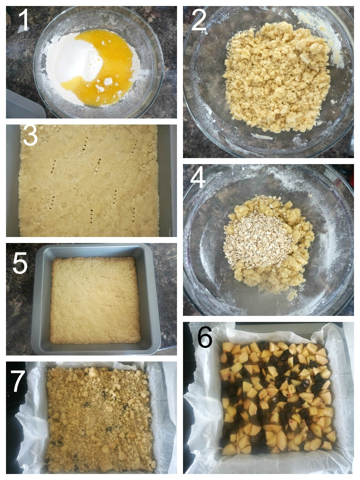 Collage of 7 photos to show how to make the crumble mixture for the bars