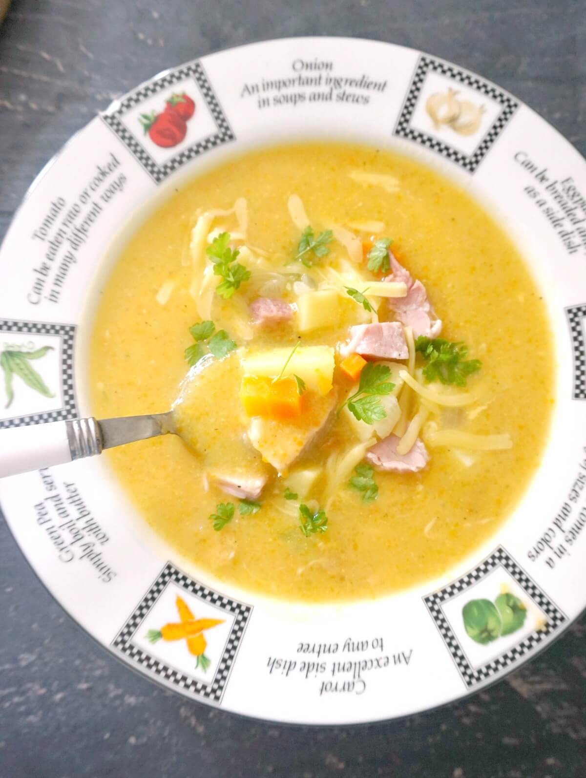 Overhead shoot of plate with creamy potato soup