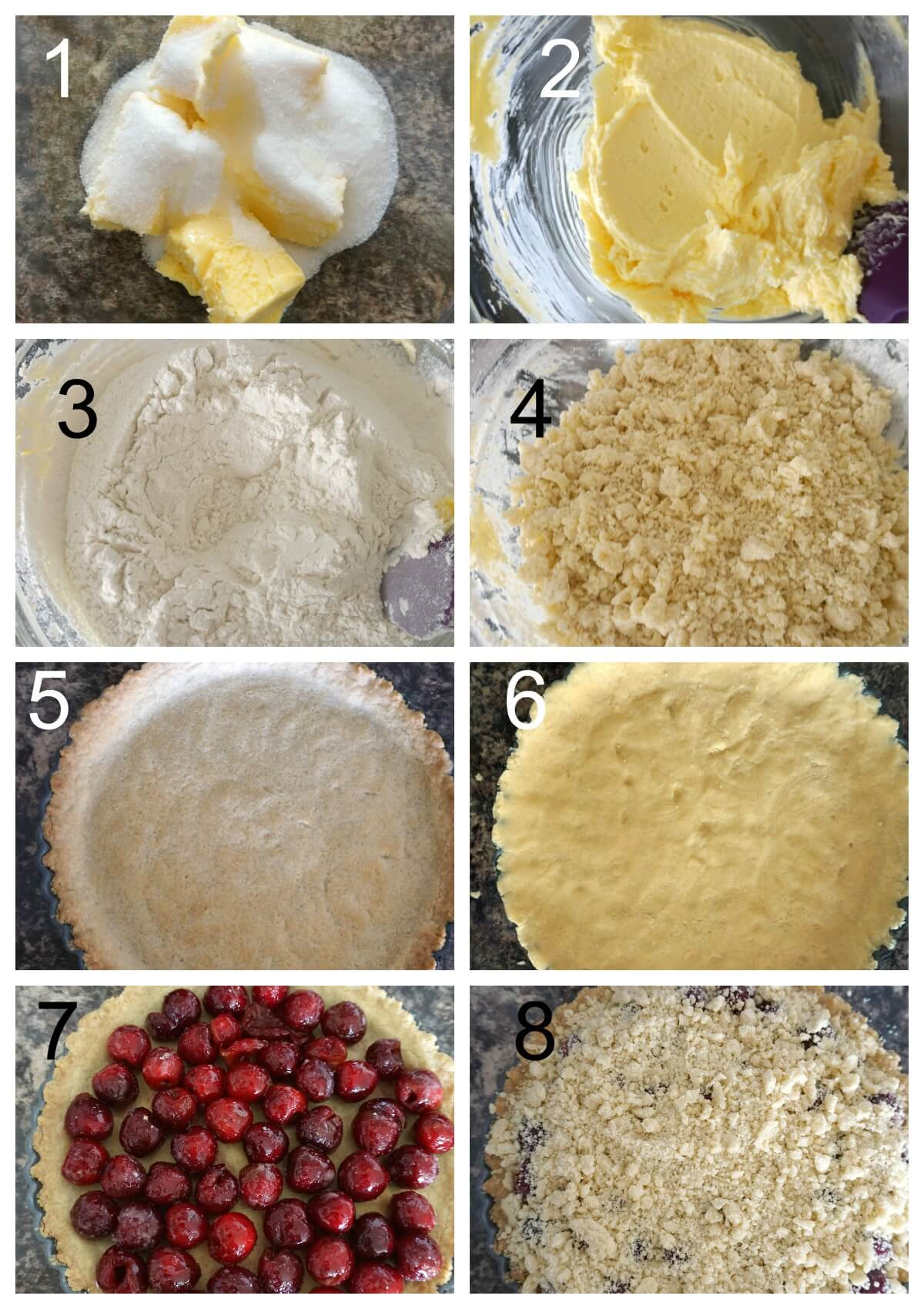 Collage of 8 photos to show how to make cherry crumb pie