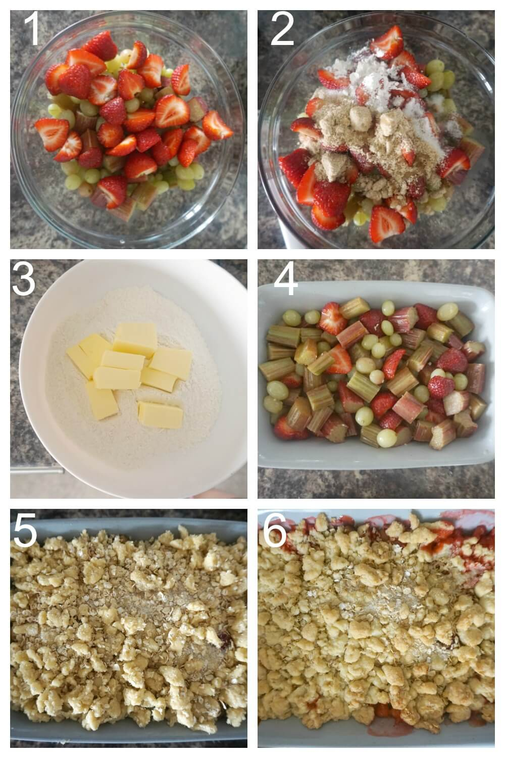 Collage of 6 photos to show how to make gooseberry, rhubarb and strawberry crumble